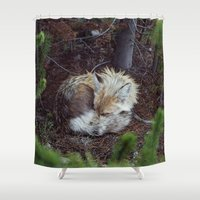 fox Shower Curtains featuring Sleeping Fox by Kevin Russ