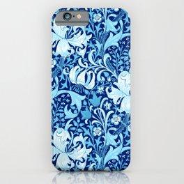William Morris Iris and Lily, Indigo Blue and White iPhone Case