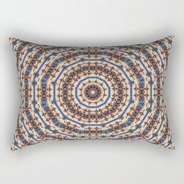 Kaleidoscope Brown Beige and Blue Circle Pattern Rectangular Pillow