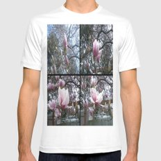Blossoms White MEDIUM Mens Fitted Tee