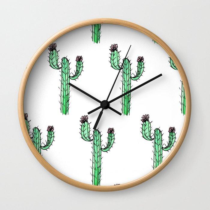 Cactus Flower II Pattern Wall Clock