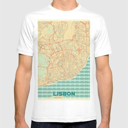 Lisbon Map Retro T-shirt