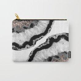 Gray Black White Agate Glitter Glamor #4 #gem #decor #art #society6 Carry-All Pouch