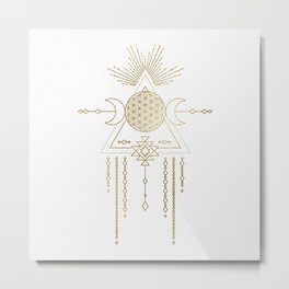 Golden Goddess Mandala Metal Print