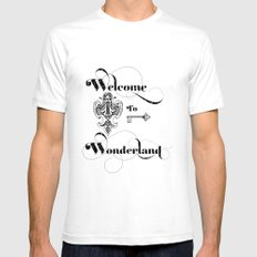Alice In Wonderland Welcome To Wonderland SMALL White Mens Fitted Tee