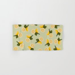 Yellow Citrus Lemon Fruit on Pale Lime Green Hand & Bath Towel