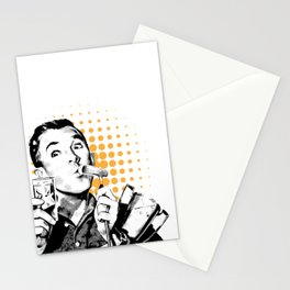 Retro golf boy drinking glass Stationery Cards