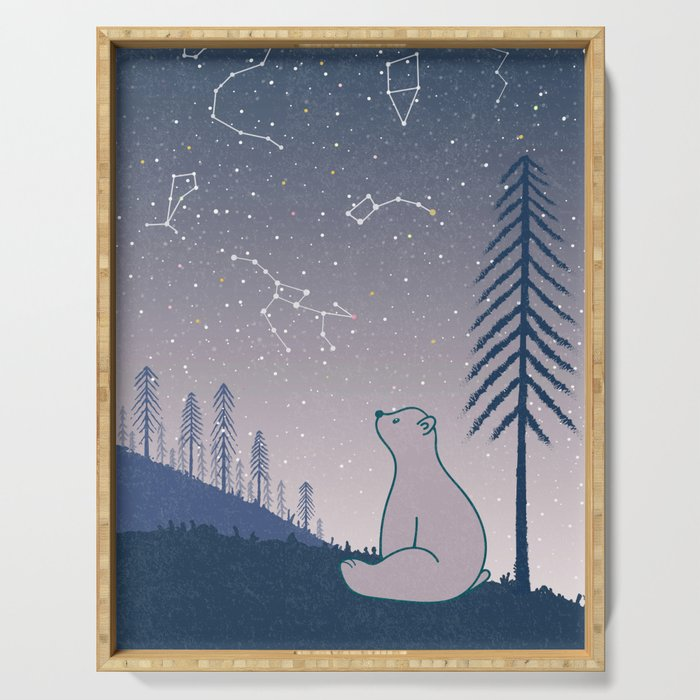 Bear and Constellations navy blue Serving Tray