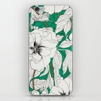 peonies iPhone & iPod Skins featuring green peonies by Marcella Wylie