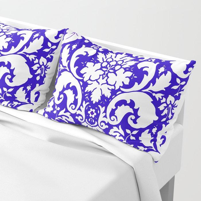 Paisley Damask Blue and White Pillow Sham