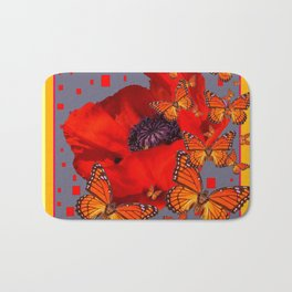 Abstract Red Poppy Monarch Butterflies Yellow-Grey Bath Mat