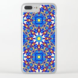Colorful Blue and Festive Yellow Ornate Pattern Clear iPhone Case