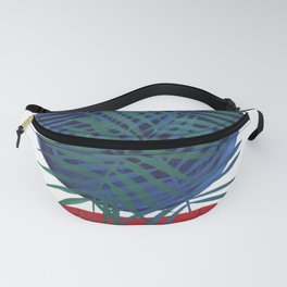Crossing Lines III potted palm tree plant art deco gouache painting design Fanny Pack