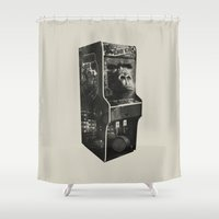 donkey kong Shower Curtains featuring DONKEY KONG ARCADE MACHINE by UNDEAD MISTER / MRCLV