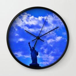 Blue Statue of Liberty Wall Clock