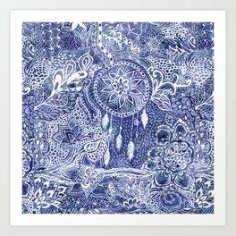 Boho blue dreamcatcher feathers floral illustration Art Print