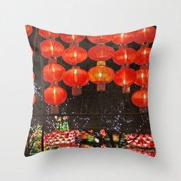 Red Chinese lanterns at night Throw Pillow