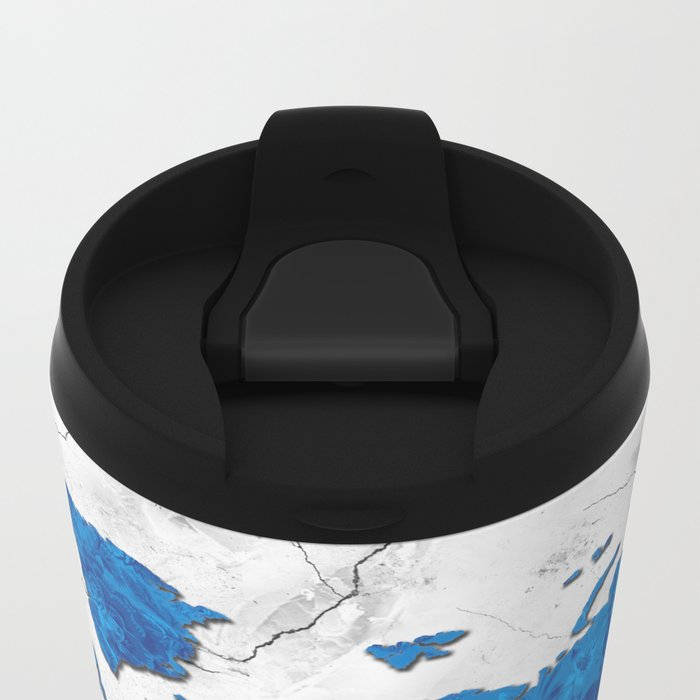 world map marble floral Metal Travel Mug