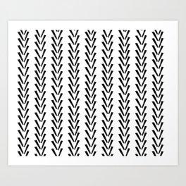 Linocut abstract minimal chevron pattern basic black and white decor Art Print