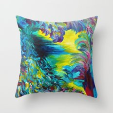 FLIGHT ON TAP - Whimsical Colorful Feathers Fountain Peacock Abstract Acrylic Painting Purple Teal Throw Pillow