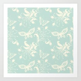 Butterfly And Floral White Light Blue Background Art Print
