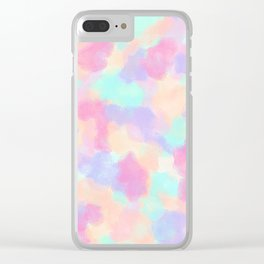 Modern Art Girly Pink Purple Paint Splotches Clear iPhone Case
