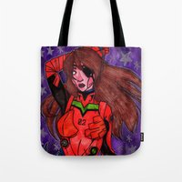 evangelion Tote Bags featuring Asuka from Evangelion by Jazmine Phillips