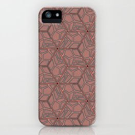 Pink and Grey Hexagon Geometric Pattern iPhone Case