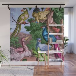 Birds of Paradise Portrait Painting by Jeanpaul Ferro Wall Mural