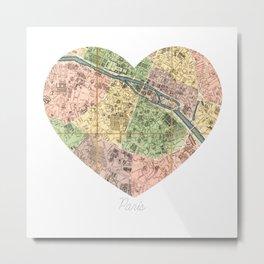 Paris Decor, Paris Map, Heart, Pink, Mint, Parisian, Dorm Decor, French, Vintage Map Wall Art Metal Print
