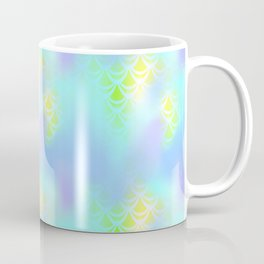 Blue Green and Yellow Mermaid Tail Abstraction. Magic Fish Scale Pattern Coffee Mug