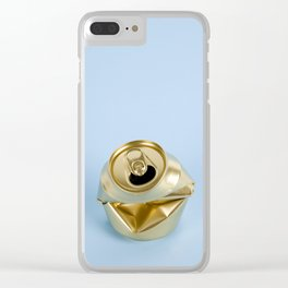 Crushed gold can blue Clear iPhone Case