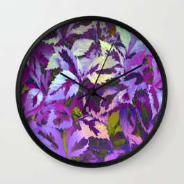 More Lovely Leaves, Purple Shades Wall Clock