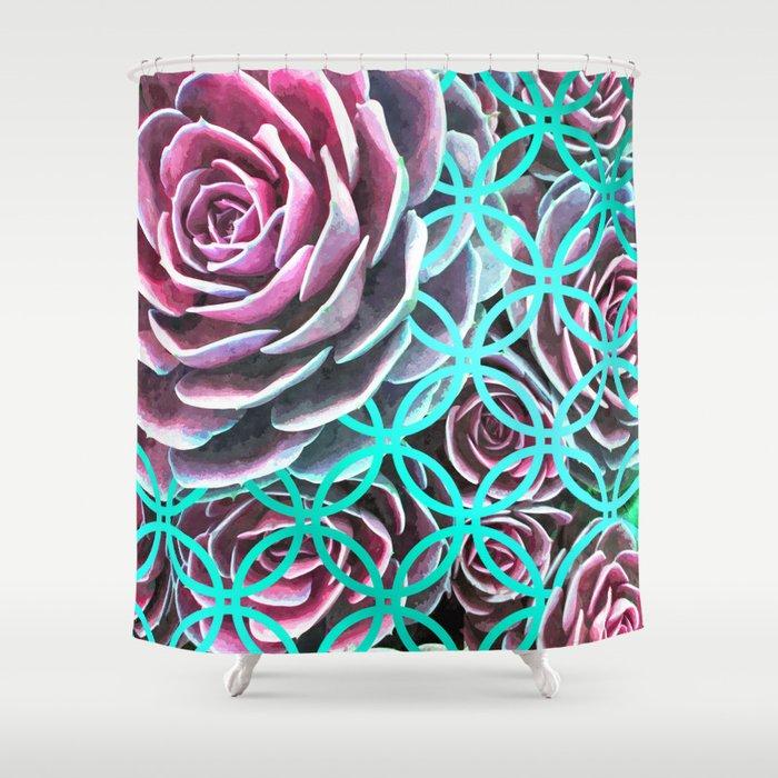 Purple Succulent Turquoise Geometric Shower Curtain