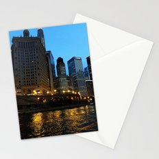 Chicago River and Buildings at Dusk Color Photo Stationery Cards
