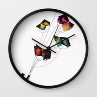 fear and loathing Wall Clocks featuring Fear and Loathing in the Meadows by Gelrev Ongbico