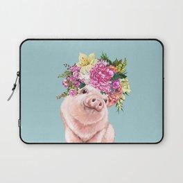 Flower Crown Baby Pig in Blue Laptop Sleeve