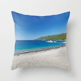 The beach Milia of Skopelos island, Greece Throw Pillow