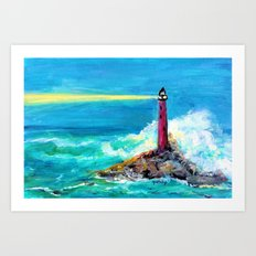 Lighthouse Abstract Painting Art Print