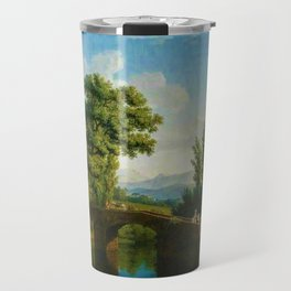 Italian Landscape with a Bridge and View of Monte Sarchio by Jakob Philipp Hackert Travel Mug