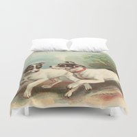 preppy Duvet Covers featuring Classic, preppy, vintage jack russell fox terrier dog puppy antique illustration art print by iGallery