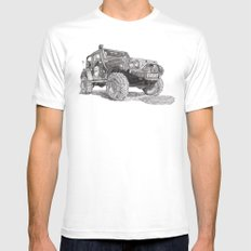 Jeep White LARGE Mens Fitted Tee