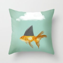 Goldfish with a Shark Fin (under a cloud) Throw Pillow