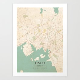Oslo, Norway - Vintage Map Art Print