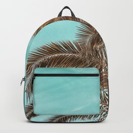 Summer Palm Leaf Print {1 of 3} | Teal Sun Sky Beach Vibes Tropical Plant Nature Art Backpack