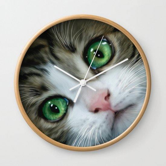 Kitty cat wall clock by alice gosling society6 - Kitty cat clock ...
