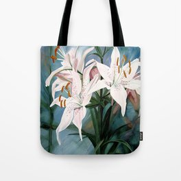 Watercolor Botanical Garden Flower White Lilies Tote Bag