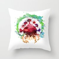 metroid Throw Pillows featuring Metroid Watercolor by Insomniac