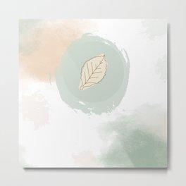 Abstract Leaf Circle Metal Print