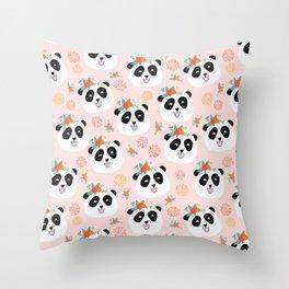 Panda bear with flowers seamless pattern Throw Pillow